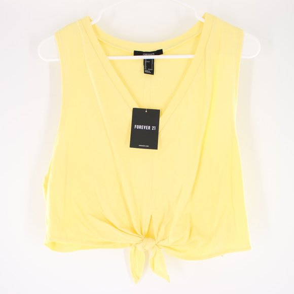 NWT Forever 21 Yellow Crop Top L